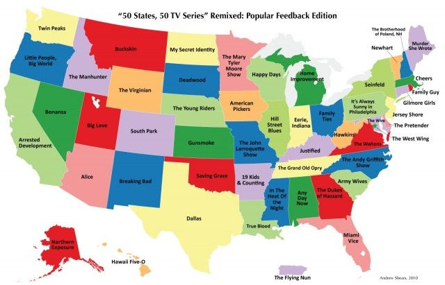 Show A Map Of United States.Tv Shows From Each State Maps Map Of America States 50 States
