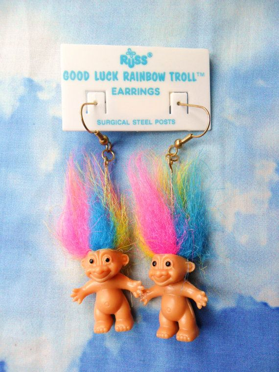 Brand new Russ Rainbow Good Luck Troll Earrings vtg surgical steel *Free Ship*