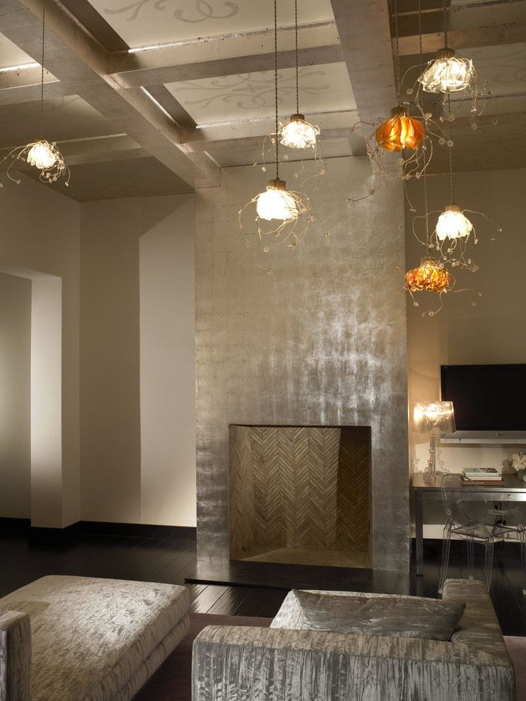 Silver Leaf Furniture Bedroom Modern With Chair Chandelier Coffered Ceiling