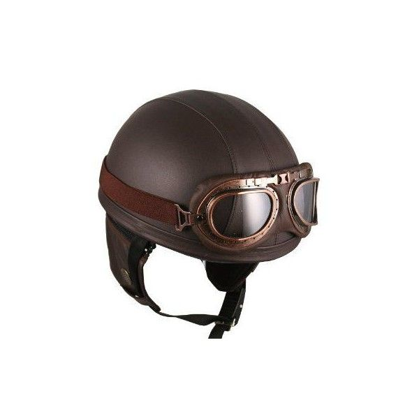 Leather Brown Motorcycle Goggles Vintage Garman Style Half Helmets Liked On Polyvore F Leather Motorcycle Helmet Vintage Helmet Motorcycle Helmets Vintage