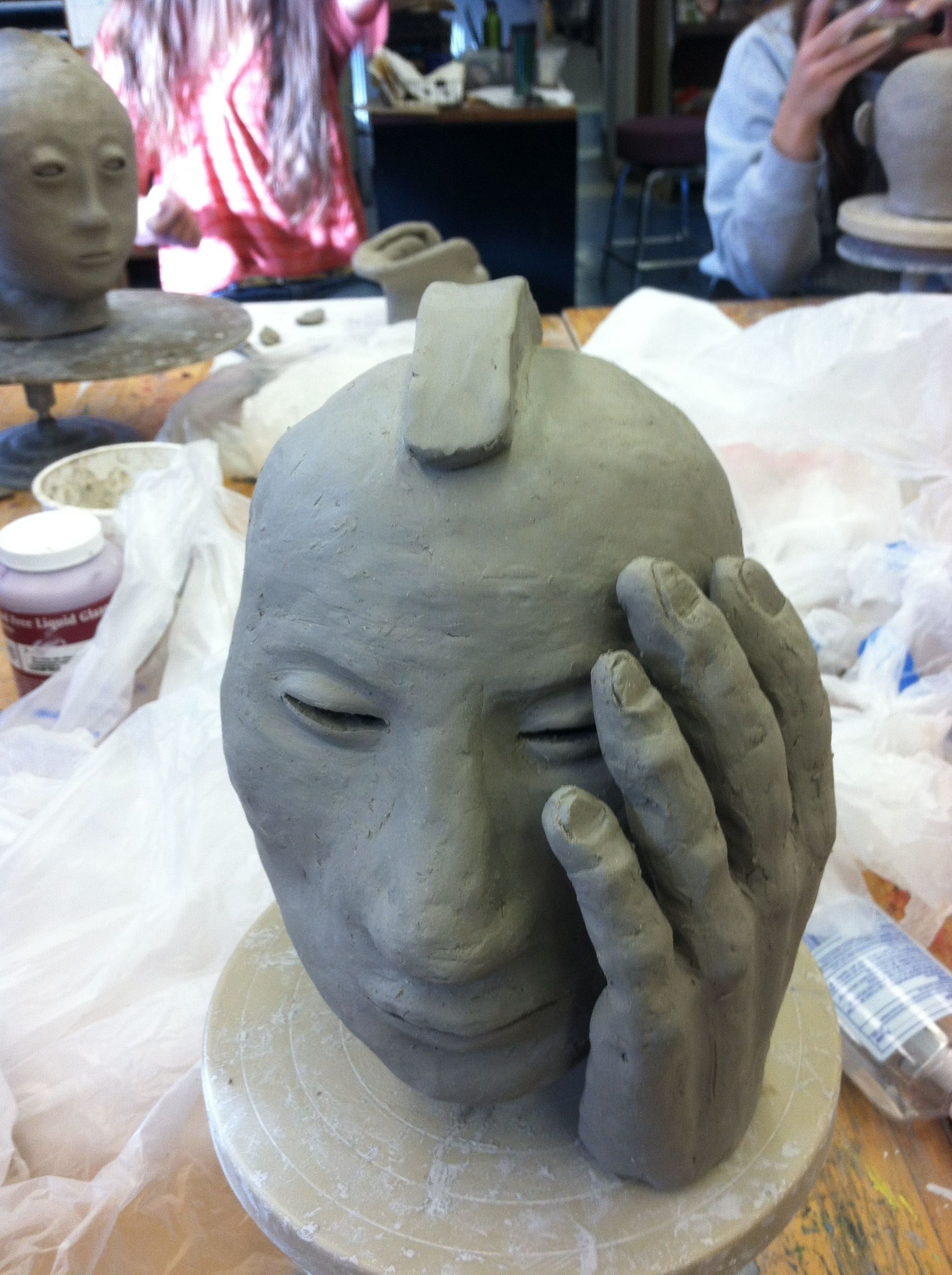 High school clay sculptures. Students were directed to use ...