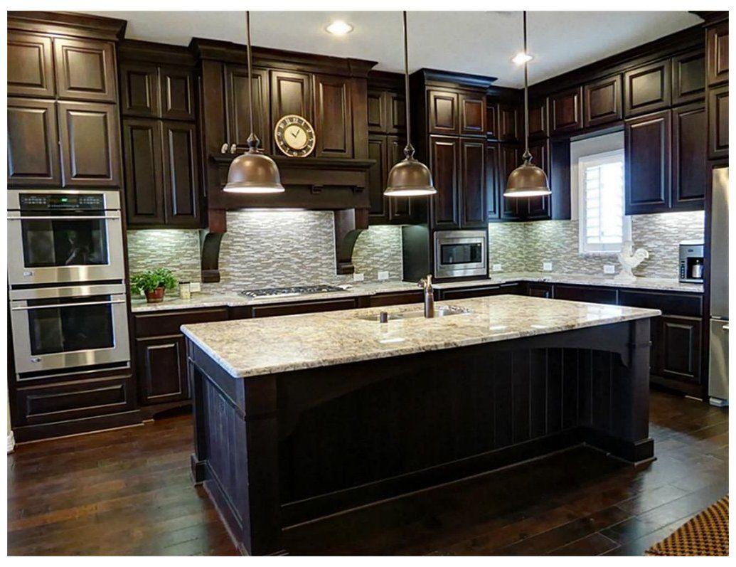 Pin By Natalie Claunch On New House In 2020 Wood Floor Kitchen Dark Wood Kitchen Cabinets Dark Wood Kitchens
