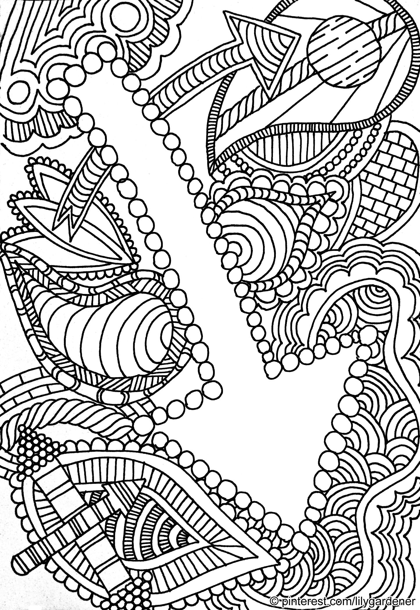 Abstract Coloring Page for Adults (high resolution), free
