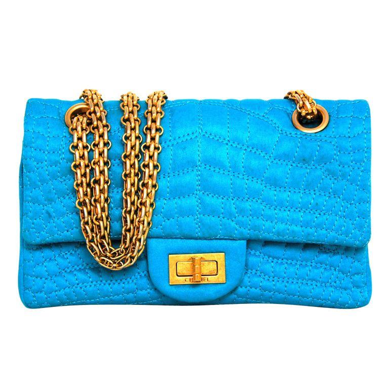 c5138978ca0d 1stdibs | CHANEL Chanel Turquoise Satin Mini 2.55 Embossed Croc Double Fla