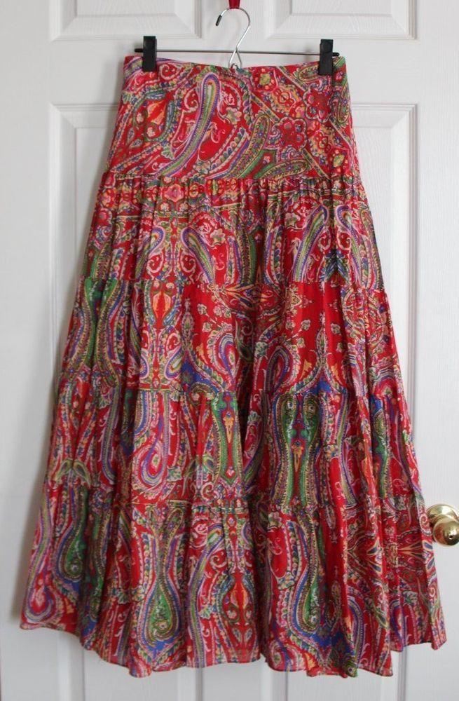 LAUREN Ralph Lauren Boho Tiered Long Skirt Red Paisley Women's size 3X NWOT