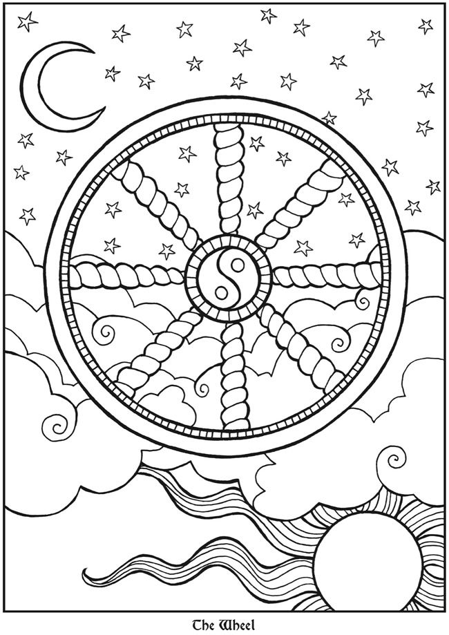 Tarot Designs: Dover Publications Samples | Moon and Stars coloring ...