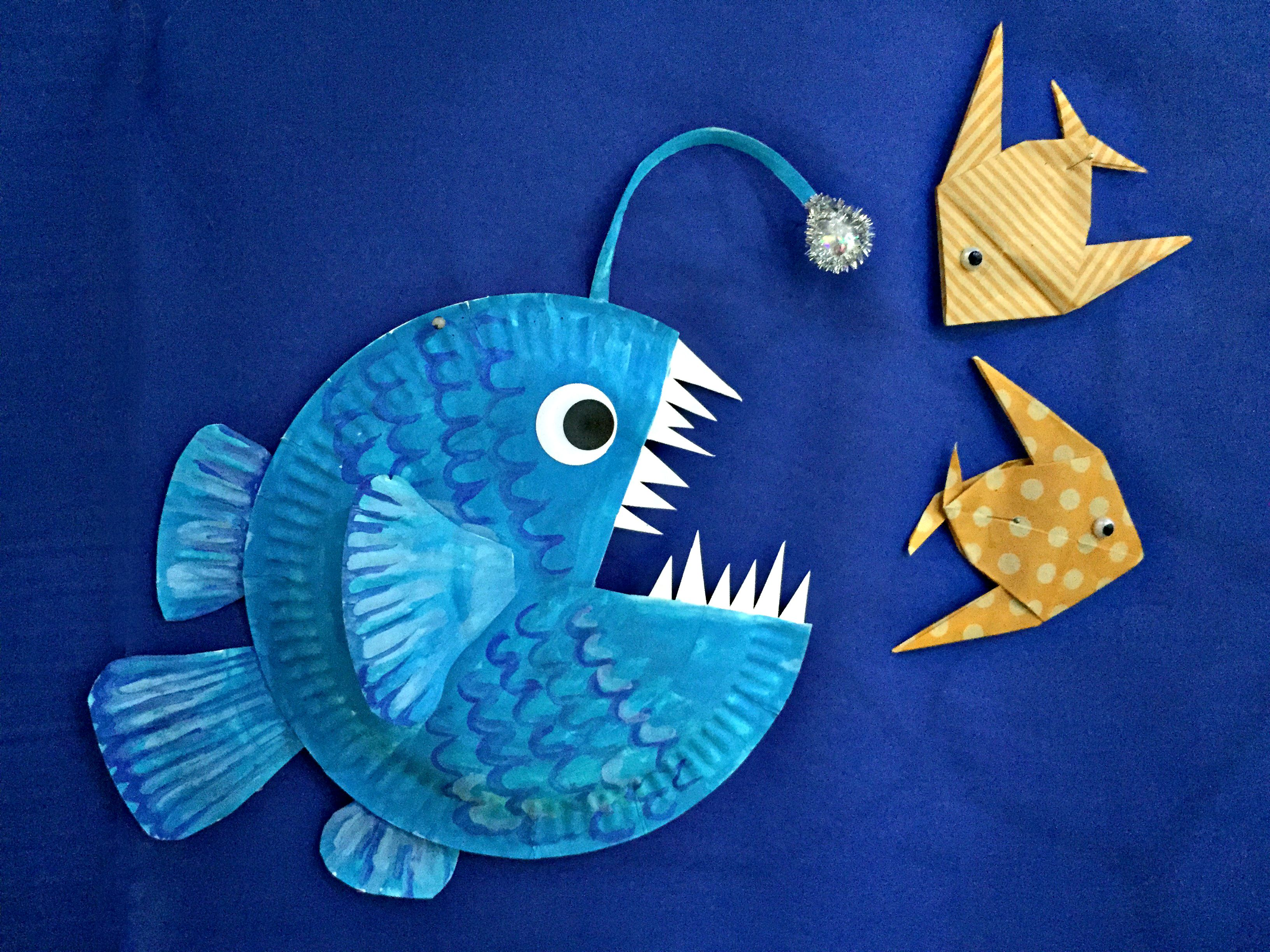 paper plate lantern fish, and origami angelfish | VBS 2016 ...