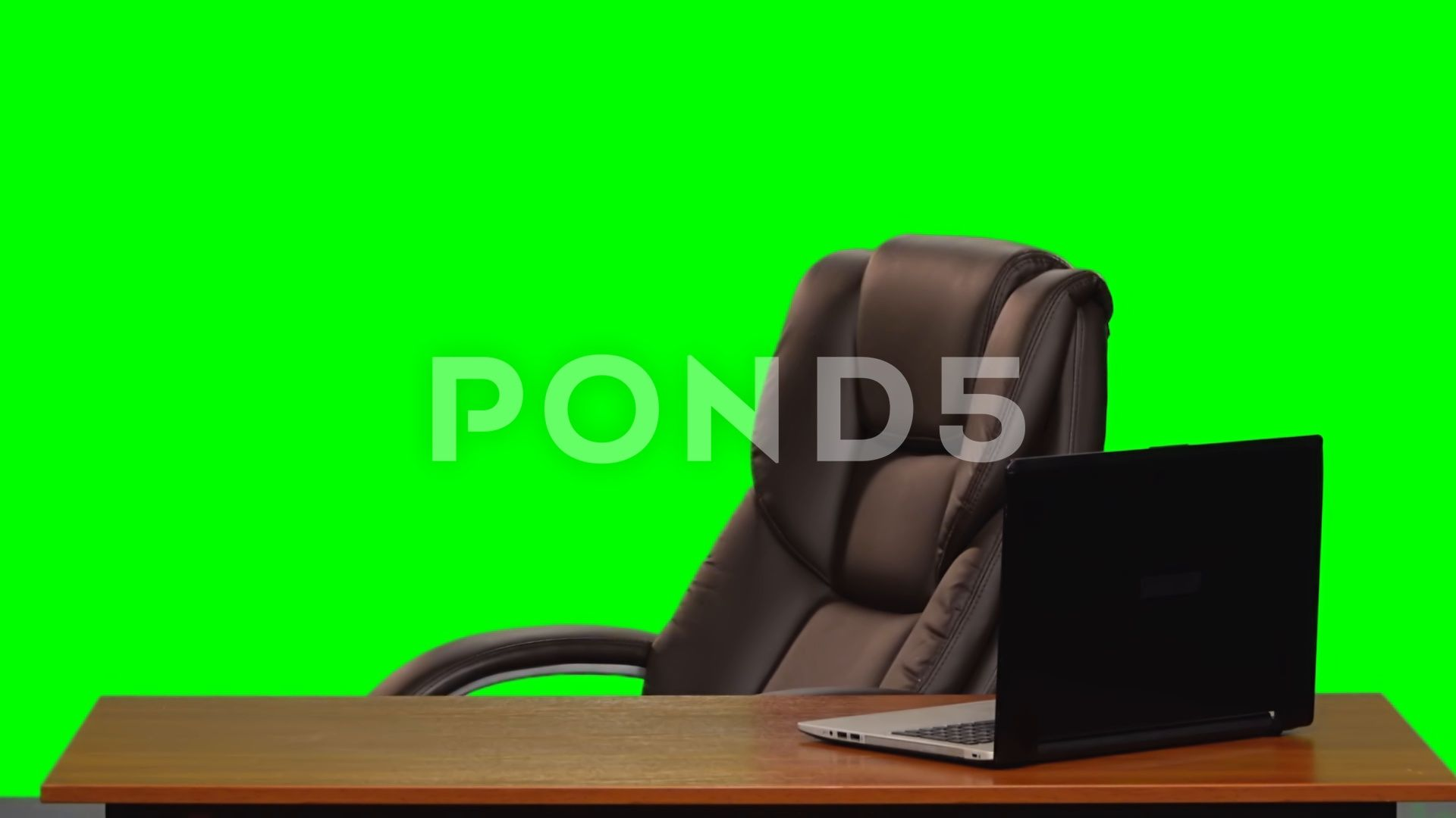 Leather Business Chair Rotating Near A Table With A Laptop Green Screen Slow Ad Rotating Table Chair Leather In 2020 Greenscreen Chair Leather Chair