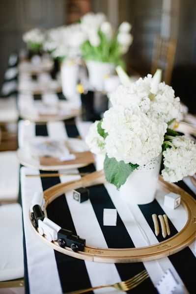 Black and white baby shower with stripes trains the