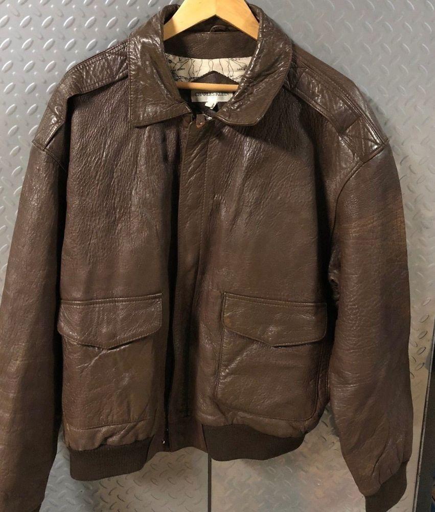 70820d22320 30296 Mens Vintage Brown Leather Pilot   Bomber Flight Jacket   Coat XL  XLarge  CharlesKlein  Bomber