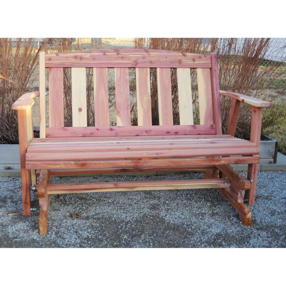 AmeriHome Amish Made Unfinished Cedar Patio Glider Bench-801767 - The Home Depot