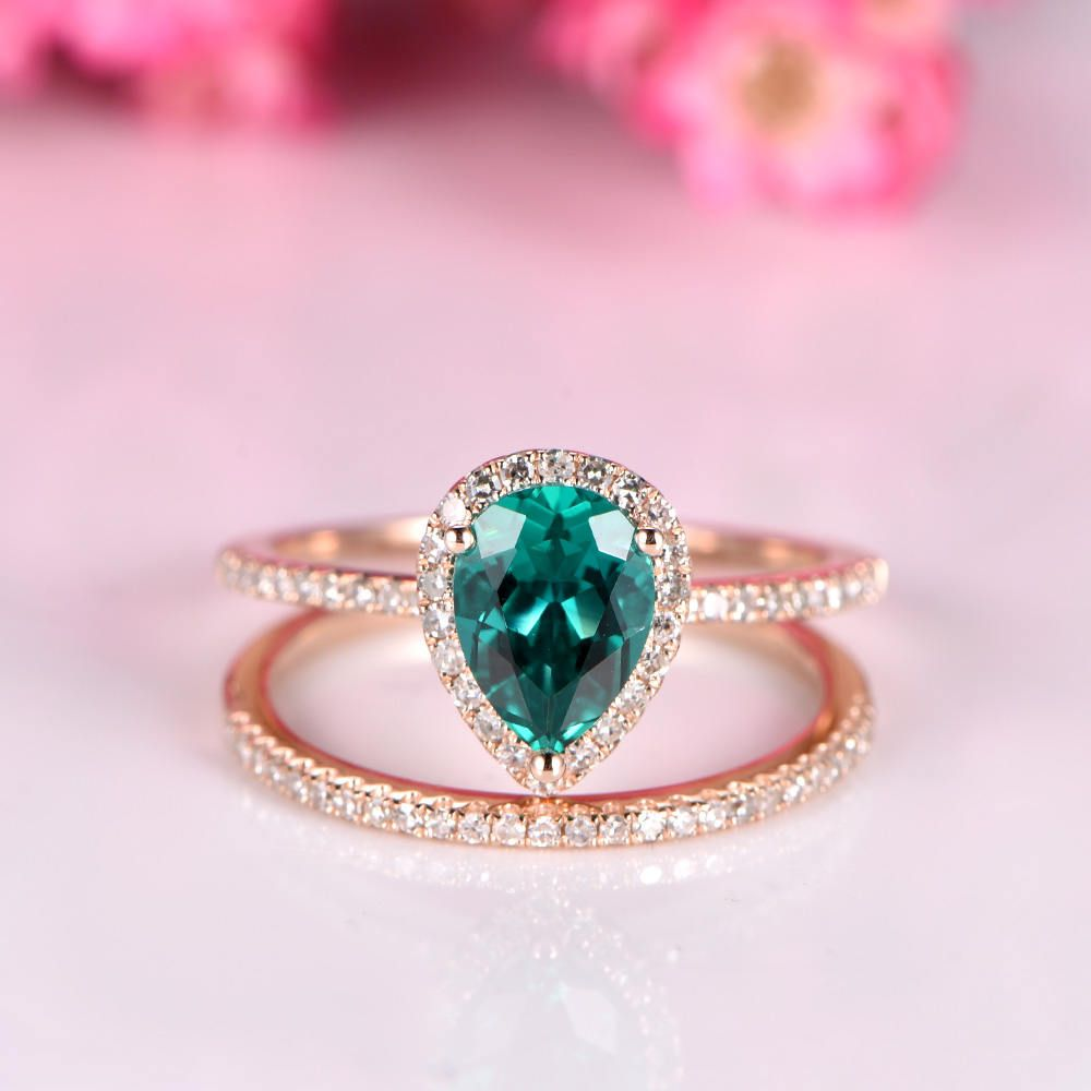 Emerald ring set 6x8mm pear emerald engagement ring half eternity ...