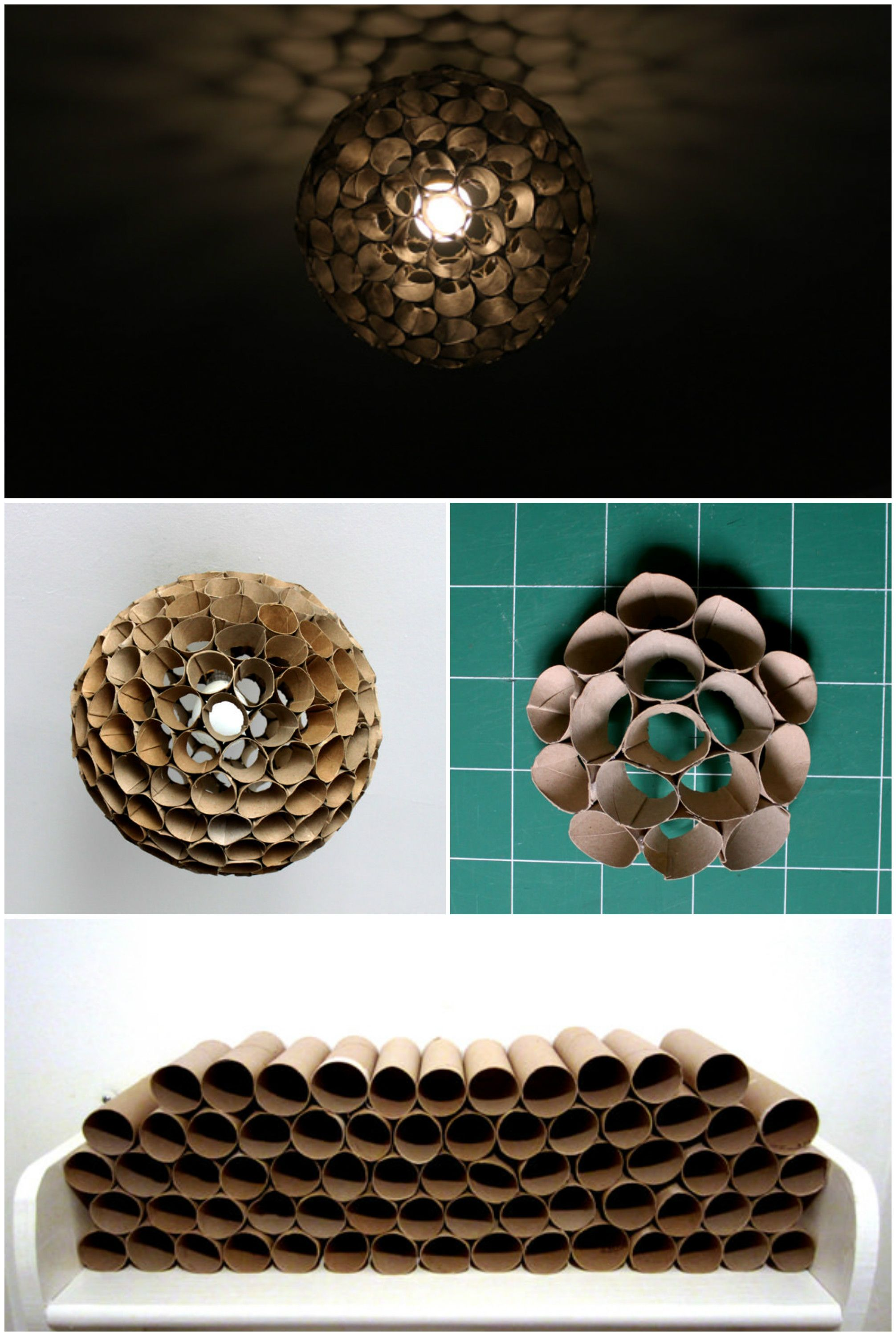 Lamp from rolls of toilet paper