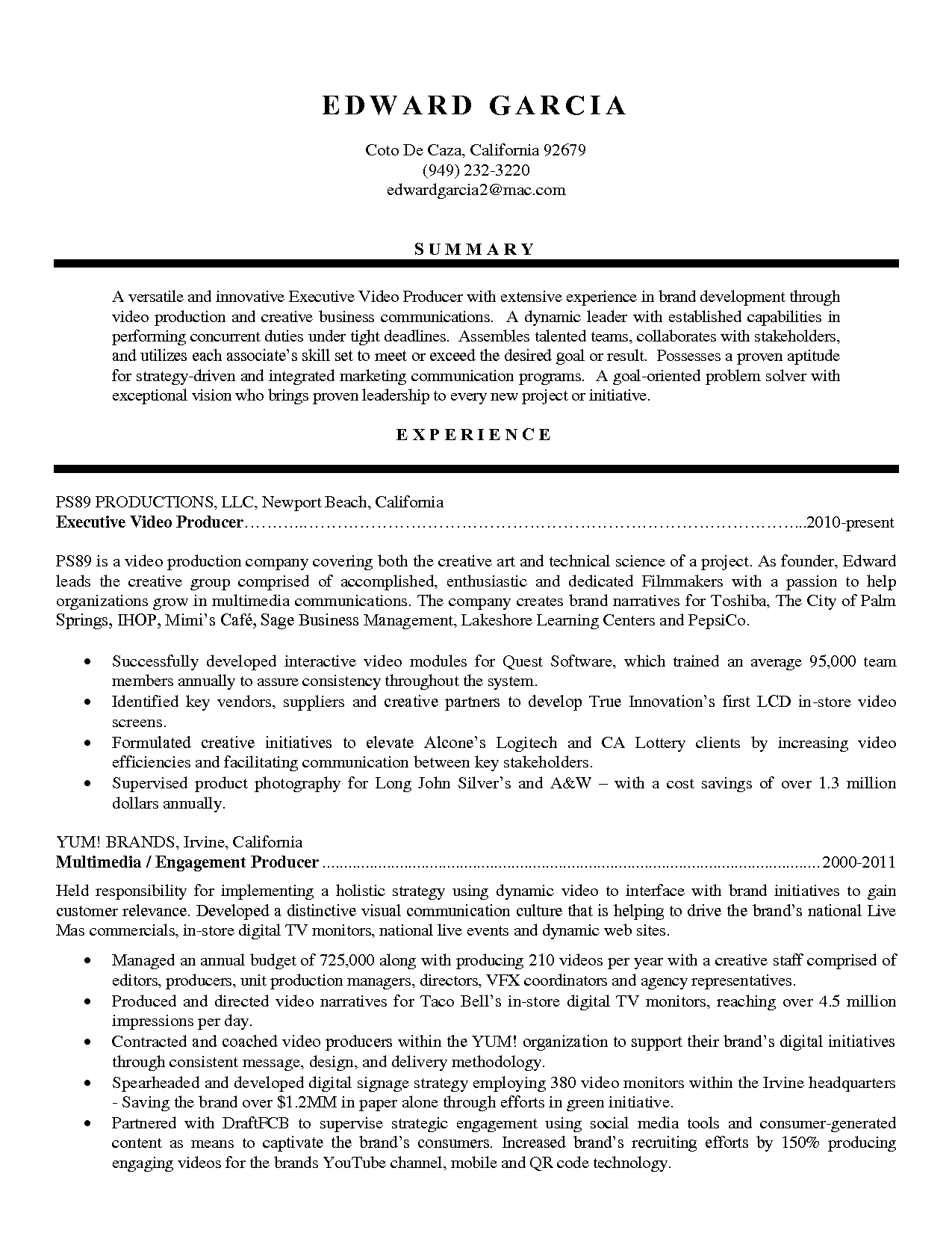 Resume Examples Video Production Resume Templates