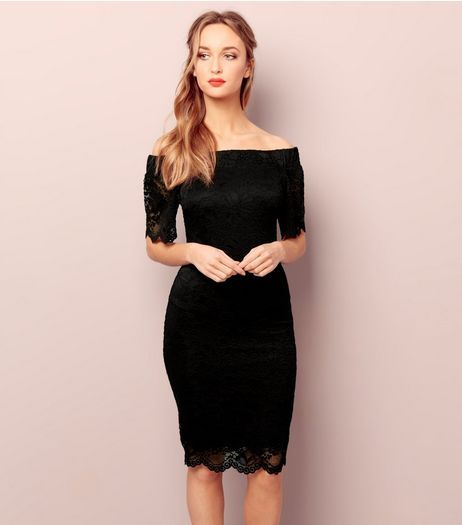 New look black dress lace sleeves