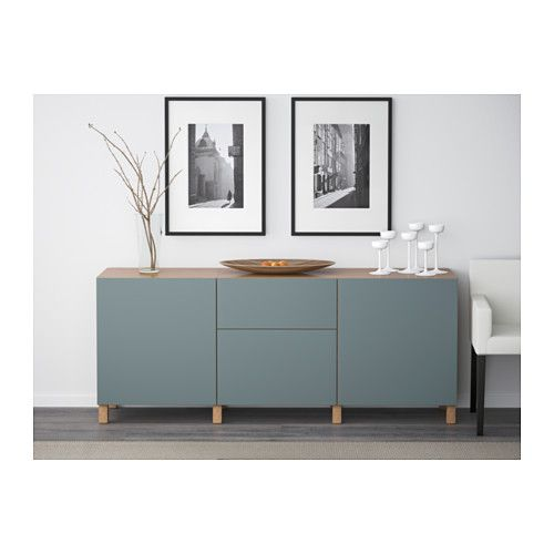 BESTÅ Storage combination with drawers Oak effect/valviken grey-turquoise 180x40x74 cm - IKEA