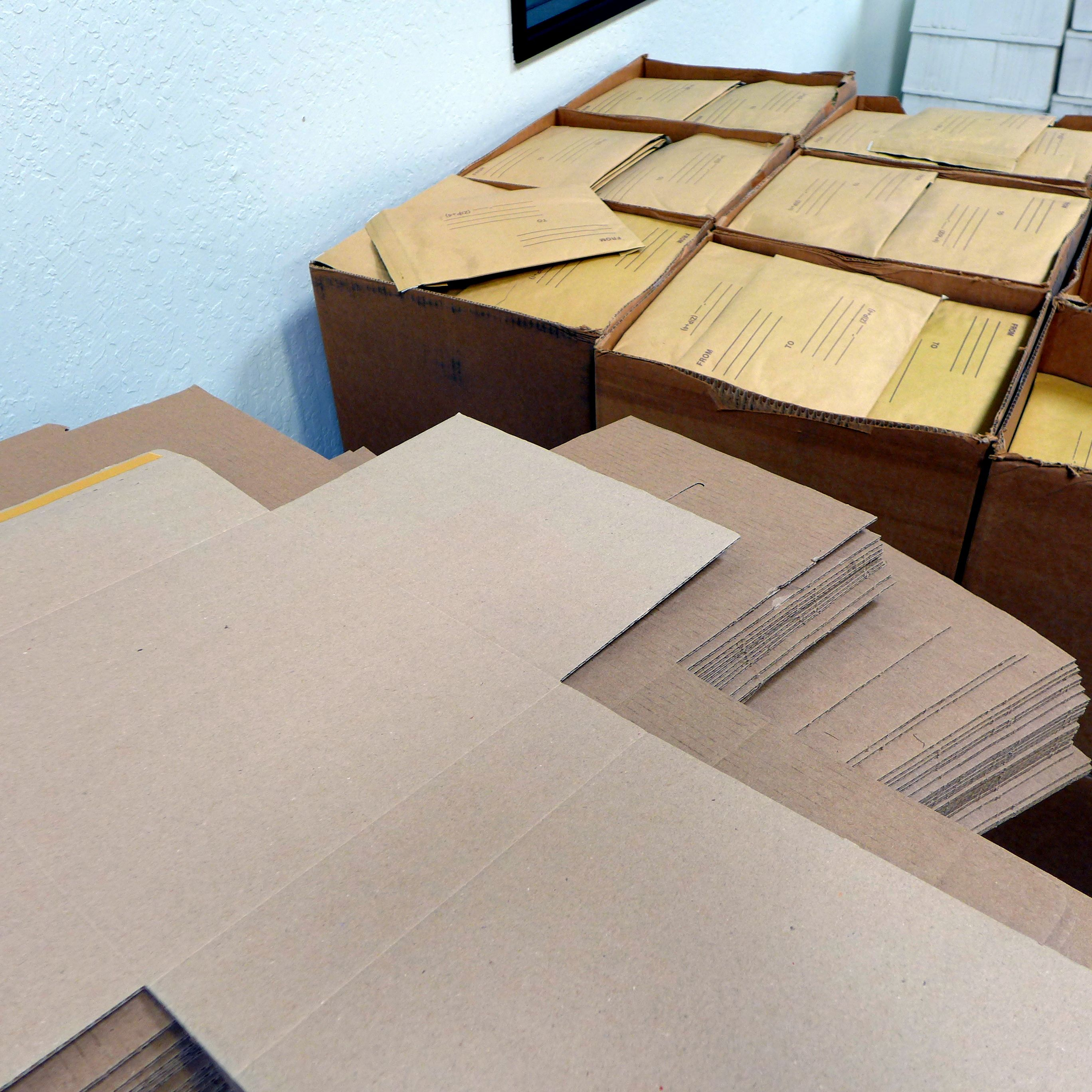 Assorted boxes and envelopes