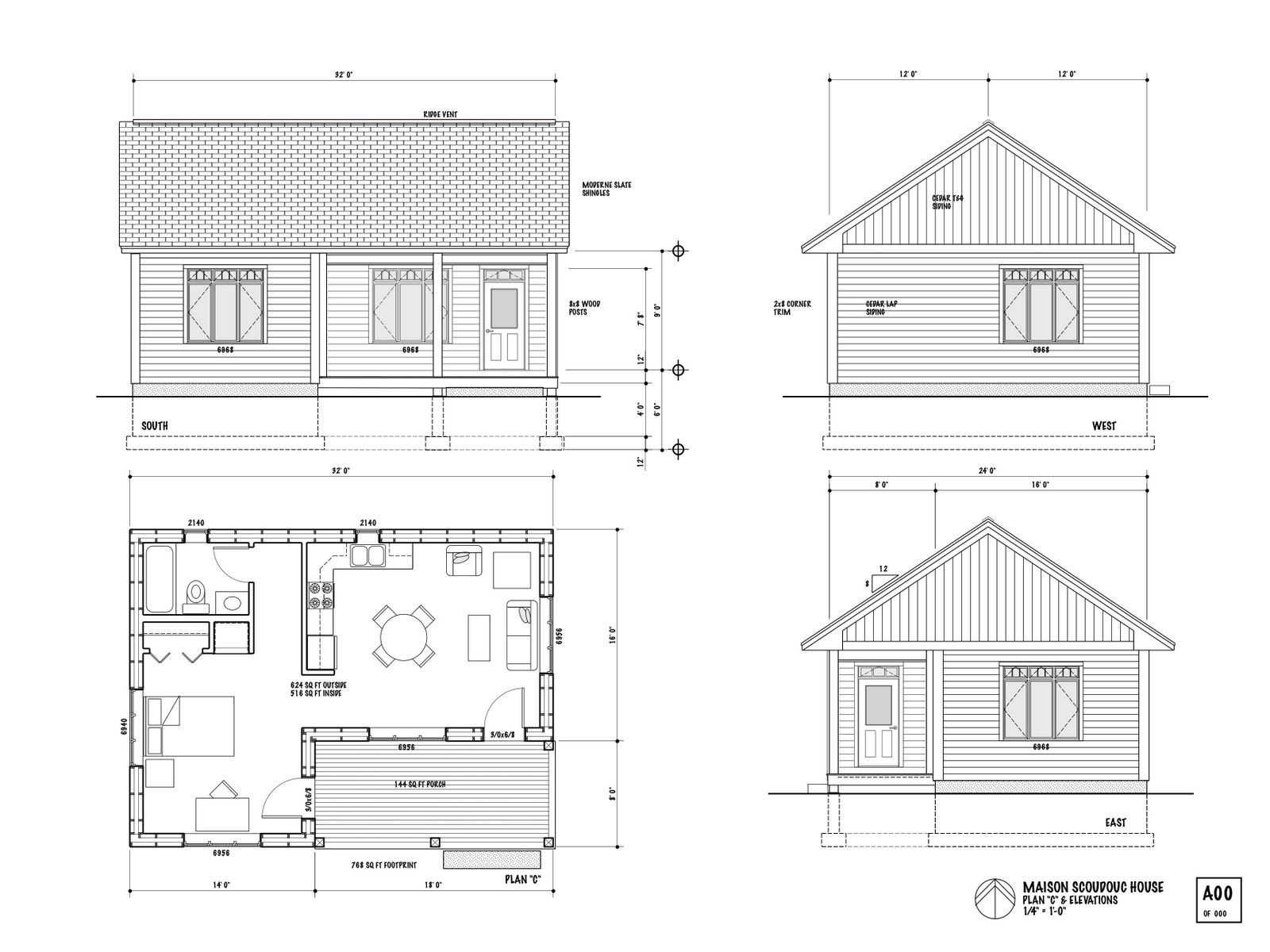 one room house layout |  the maison scoudouc house plan c is