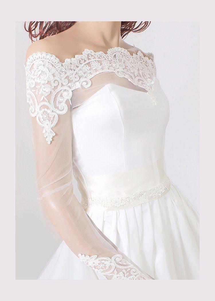 6a606861239 Plus Size lace off shoulder lace tulle bolero bridal jacket with ...