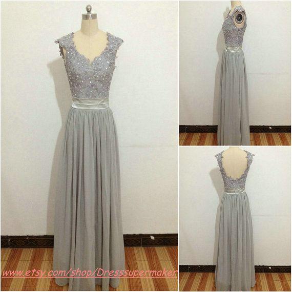 Sexy rückenfreie Brautjungfer Kleid grau Schärpe Abendkleid ...