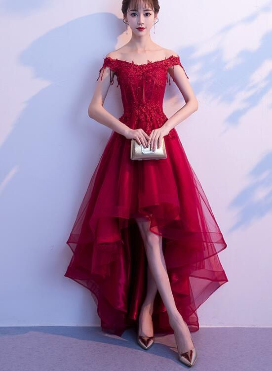 Dark Red High Low Dress Beautiful Tulle And Lace Prom Dress Formal Gown Red High Low Dress Tulle Evening Dress Prom Dresses