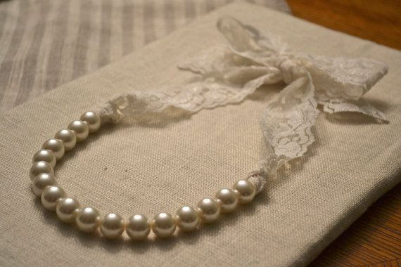 Lucy Beautiful Ivory Pearl Necklace With Ivory Lace Ribbon Tie On