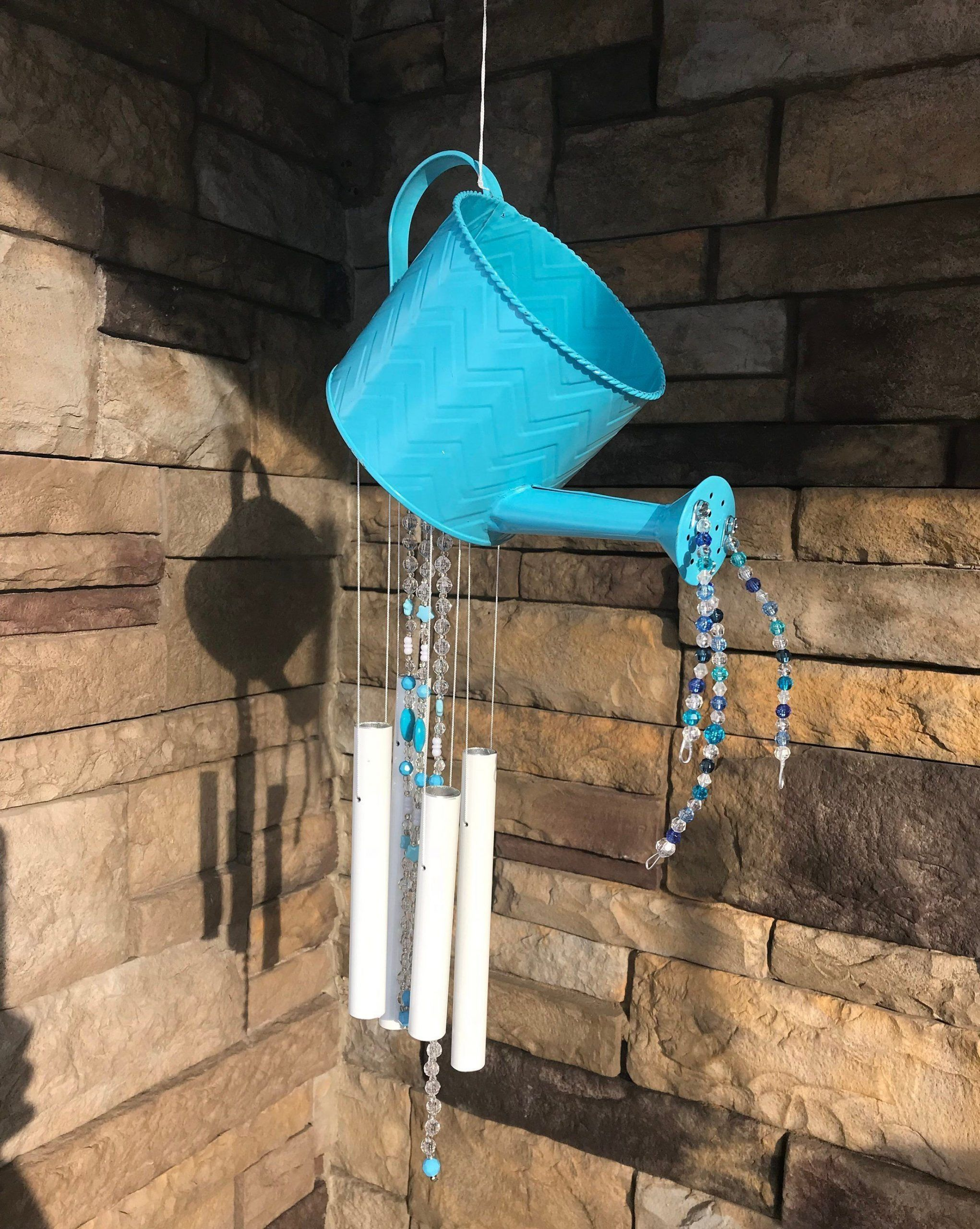 Unique Blue Watering Can Wind ChimeBlue Beaded Wind ChimeBlue Garden ChimeMetbeaded