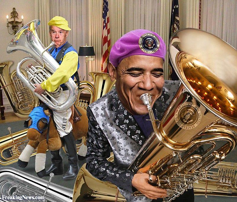 Barack Obama and Joe Biden Playing Tubas