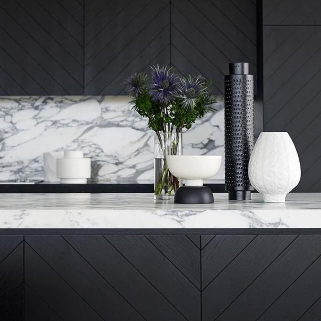 Highgrove Bathrooms On Instagram Herringbone Joinery Matte Black Finishes Marble Splashback Could This Kitchen Marble Cottage Kitchen Design Marble House