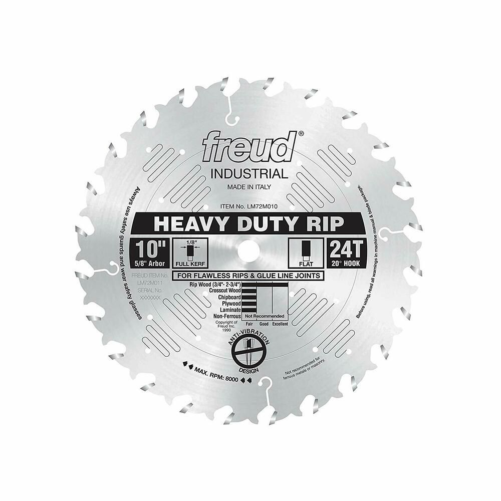 Freud 10 X 24t Heavy Duty Rip Blade Lm72m010 Freud Table Saw Blades Best Table Saw Saw Blade