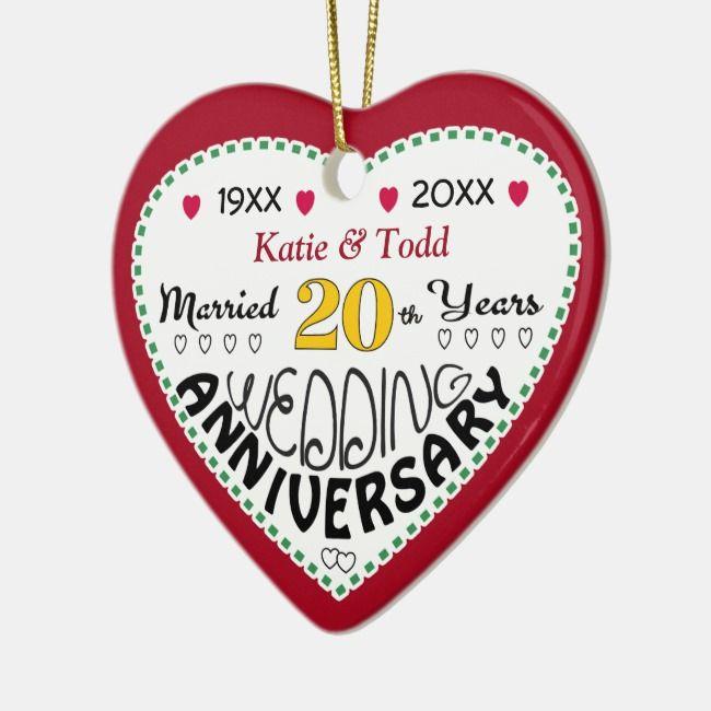 20th Anniversary Gift Heart Shaped Christmas Ceramic Ornament | Zazzle.com #20thanniversarywedding