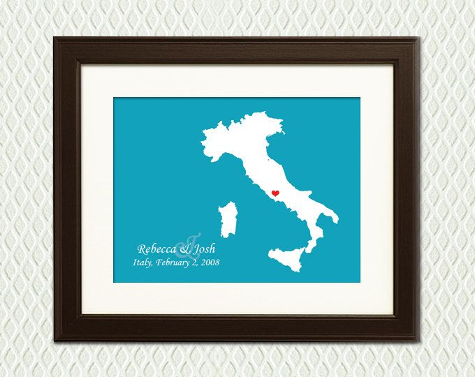 GREECE WEDDING GIFT Personalized Map For An Engagement Destination Wedding Honeymoon Or Anniversary With A Heart On Place Eg