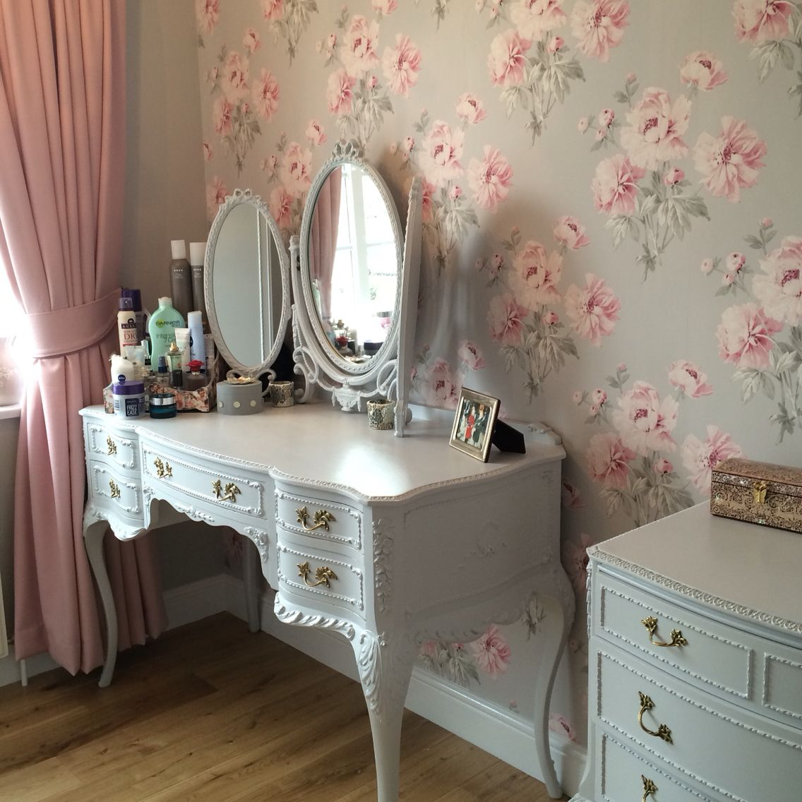 New Oak Floor Boards Laura Ashley Wallpaper Made To Measure Curtains From Dunelm Up Cycled Chalk Painted Furniture That I Bought Second Hand