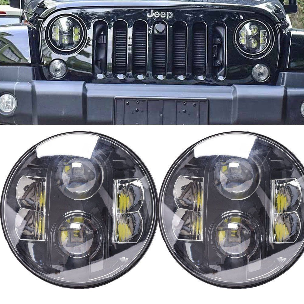 2pc 80w 7 inch led headlight h l jeep wrangler tj jk hummer h4 camaro
