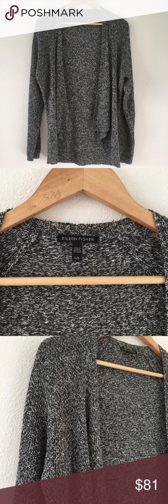 92e2ccf72ed3a0 Gray Black White Open Organic Cotton Knit Sweater Brand  Eileen Fisher  Style  Cardigan Size (Women s)  L Material  Organic Cotton Size Type   Regular ...