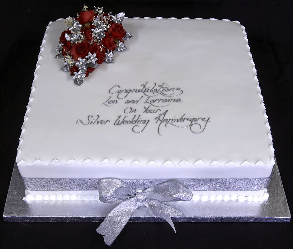 Red And Silver Anniversary Cakes