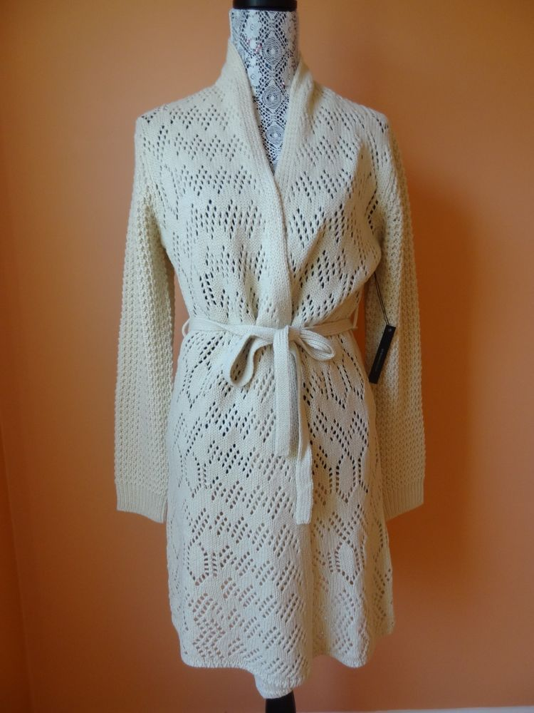 New bcbg sm belted pointelle cardigan crochet knit long
