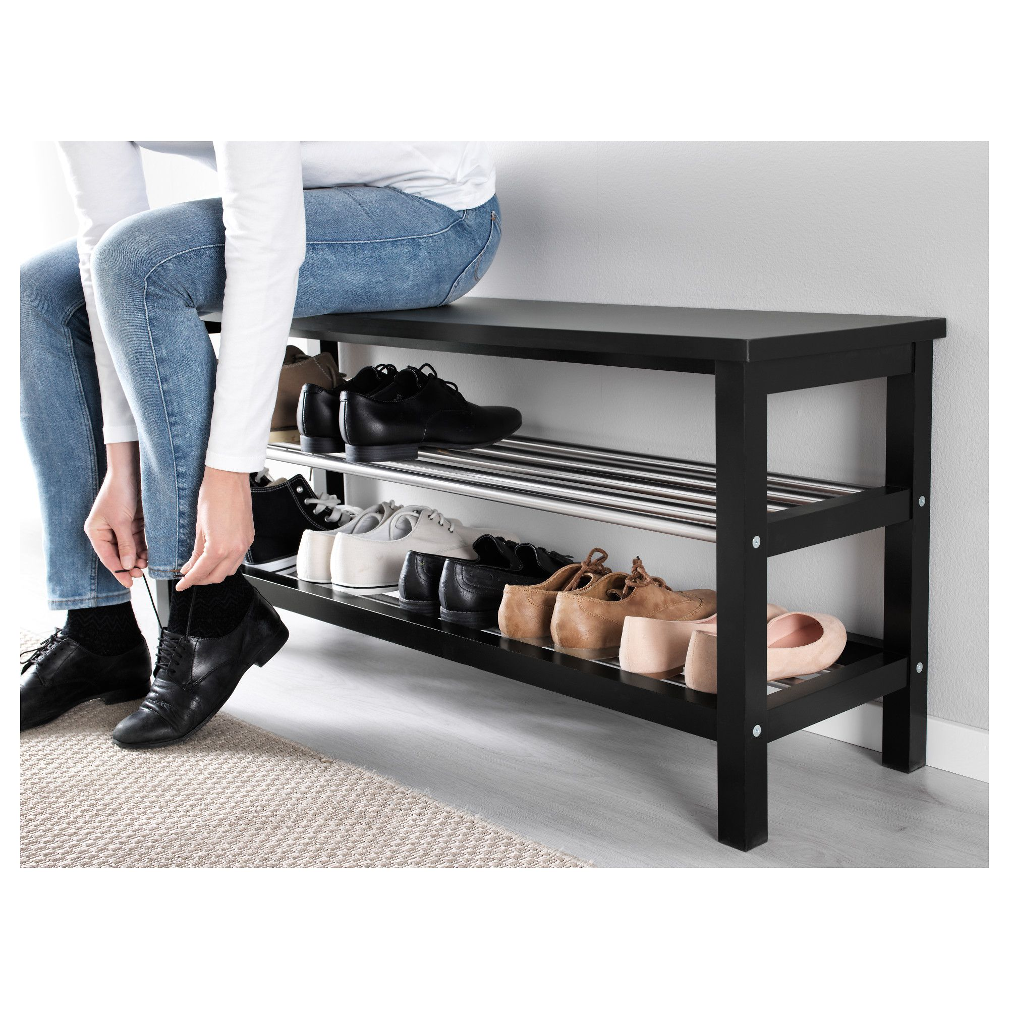 Ikea Tjusig Bench With Shoe Storage Black In 2019