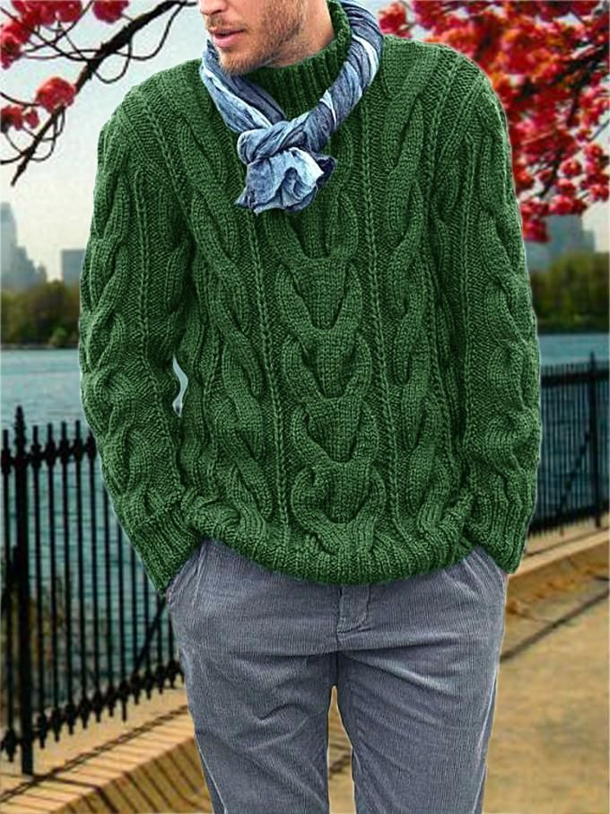Men Braided Turtleneck Knitting Cold Weather Winter Sweater Jumper Knitwear Warm