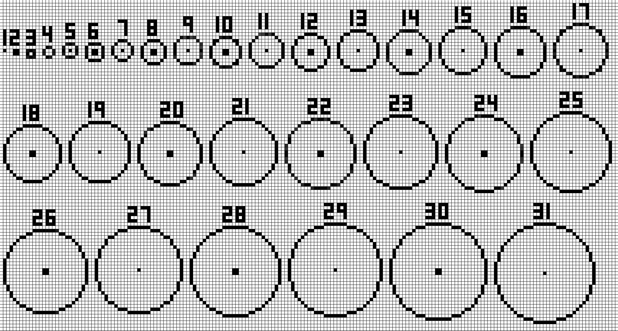 New circle guide, 1-31. Even diameters, bigger, no