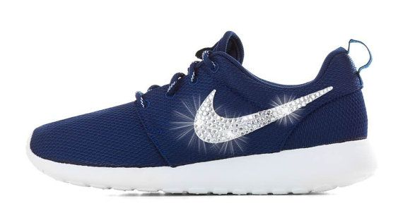 Blinged Nike Roshe Run Shoes Navy Blue White by NYCustoms on Etsy