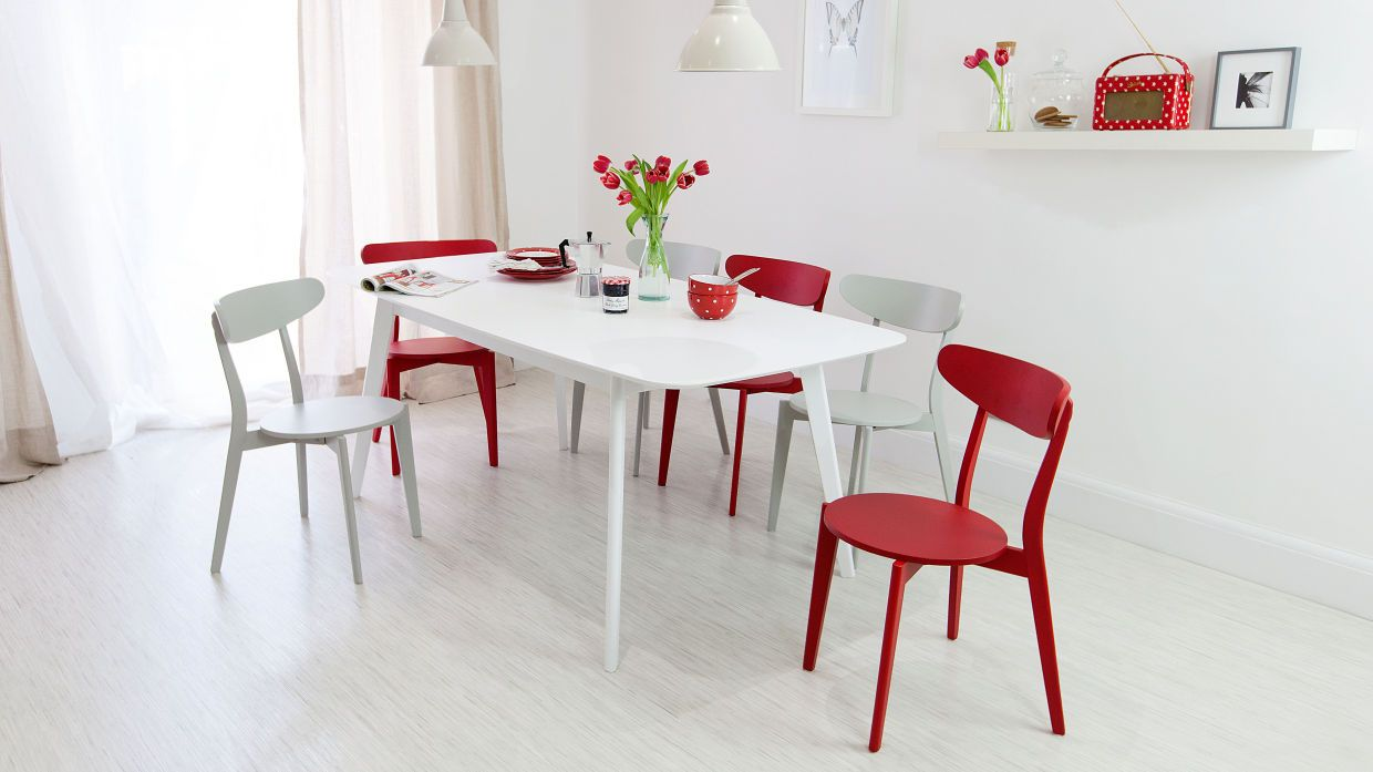 Aver White Extending and Senn Colourful Dining Set | Dining chairs ...