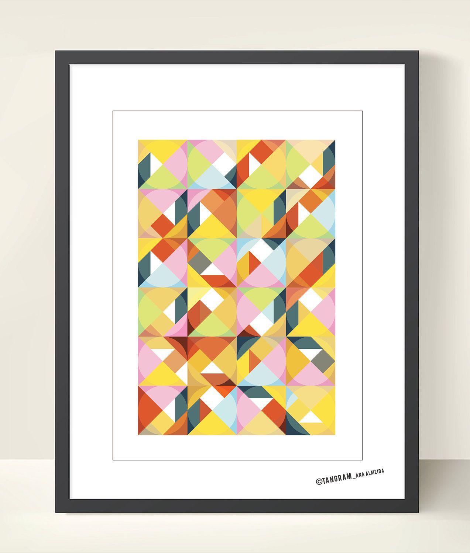 Geometric Art Tangram. Abstract Poster Print A3, Mid Century Modern ...