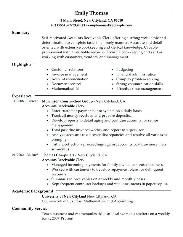 Accounts Payable Resume Example Receivable Clerk Sample Manager Objective