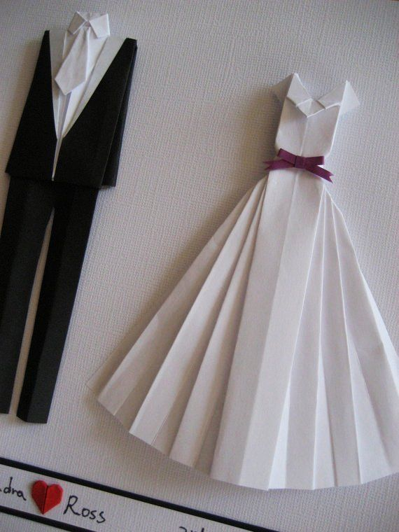 Wedding Gifts For Bride And Groom Pinterest : wedding gift-paper anniversary gift-Bride and groom origami outfit ...