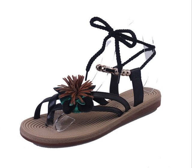 Women's Gladiator Ankle Tie Sandals, Black Or White, 6 8.5