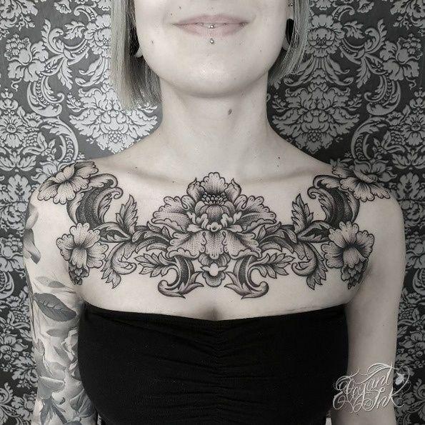 Victorian flowers.   Chest piece tattoos, Victorian chest ...  Victorian Flower Tattoo