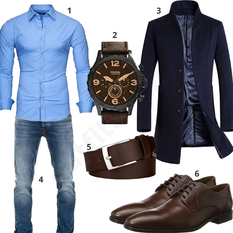 Business Outfit mit Hemd und langem Mantel | Herren outfit