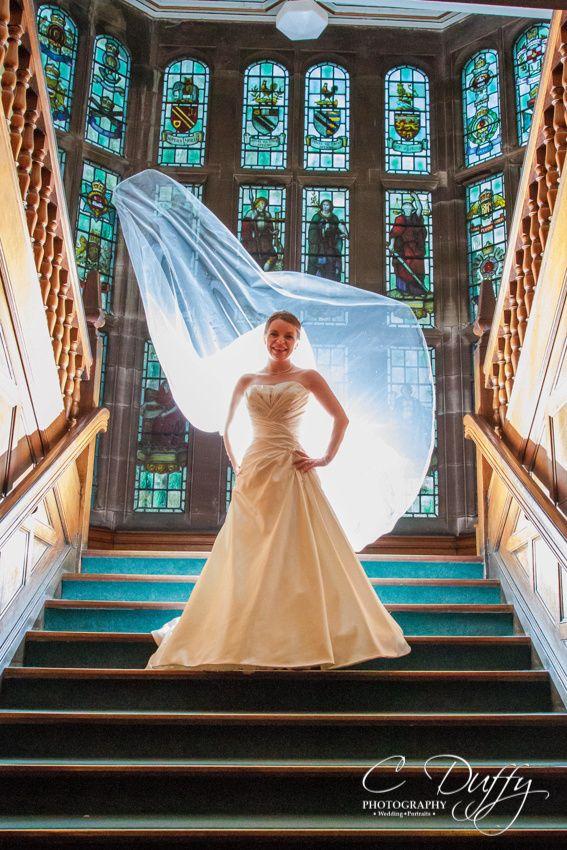 Bolton School Wedding Photography Bride Staircase Dramatic Portrait Off Camera Flash