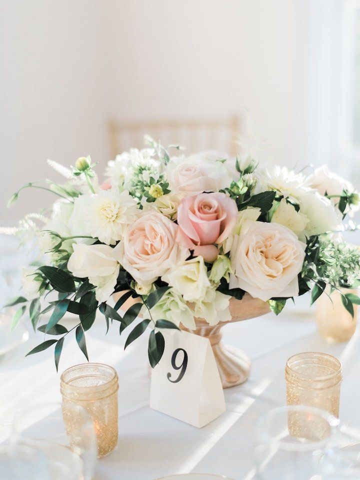 Romantic California Wedding With Elegance Low Wedding Centerpieces